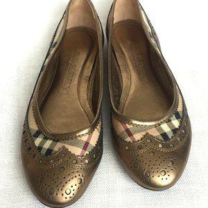 Burberry Flats, Housecheck / Gold, Designer Shoes
